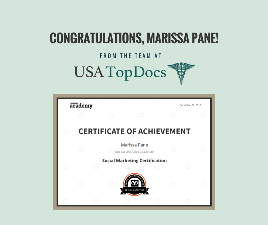 Tx Top Docs Congratulates Usa Top Docs Social Media Specialist